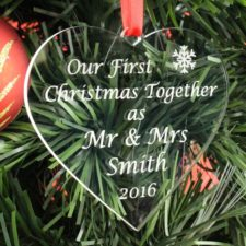 Personalised Mr & Mrs Heart Bauble