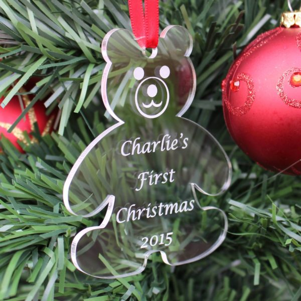 personalised baby child first christmas bauble 1