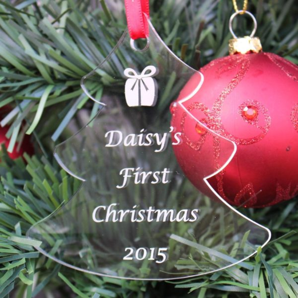personalised baby child first christmas bauble