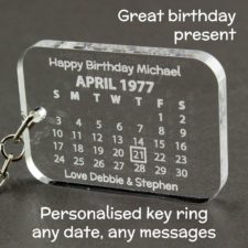 Personalised Calendar Birthday Key Ring