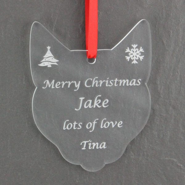 personalised cat christmas bauble 2