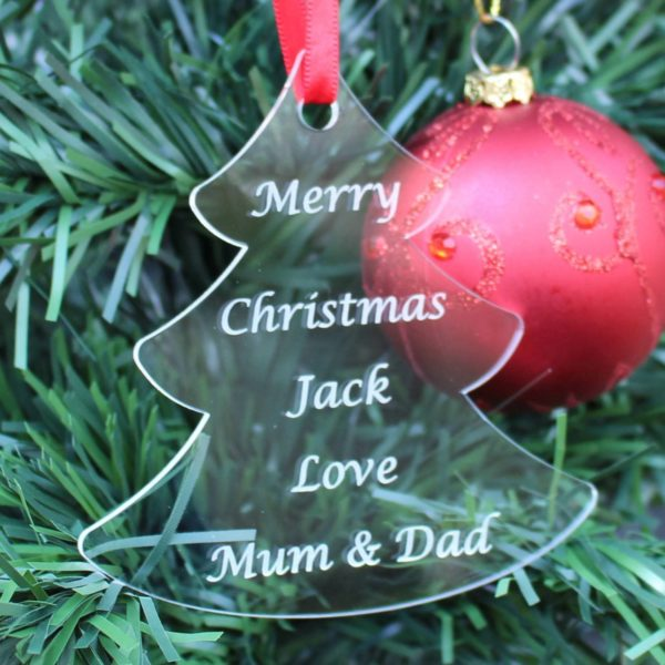 personalised child christmas tree bauble