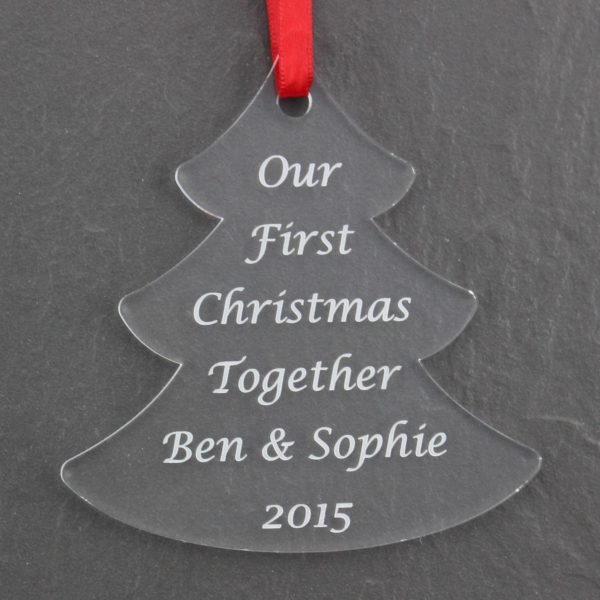 personalised first christmas together tree bauble 2