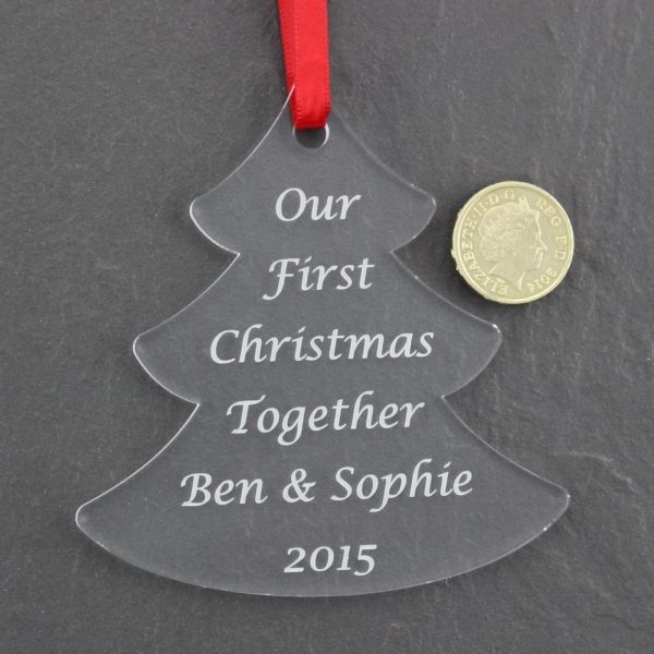 personalised first christmas together tree bauble 4