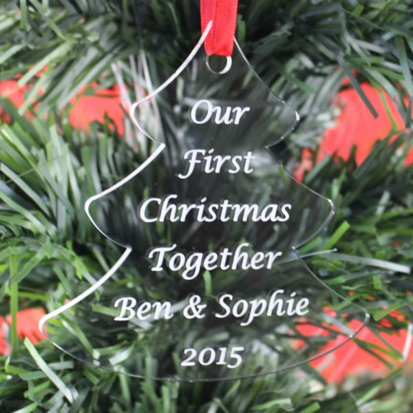 personalised first christmas together tree bauble 6