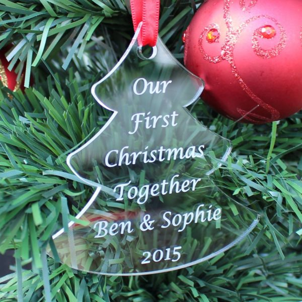 personalised first christmas together tree bauble