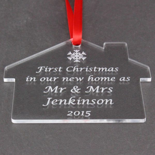personalised mr & mrs new home bauble