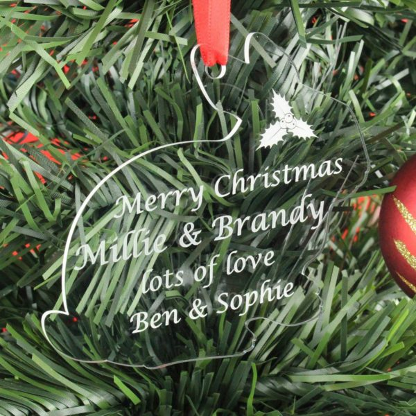 personalised rabbit christmas bauble 2