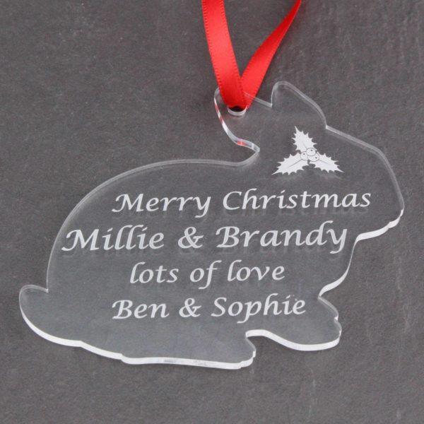 personalised rabbit christmas bauble 6