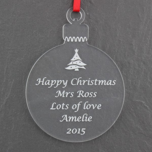 personalised teacher christmas bauble 2