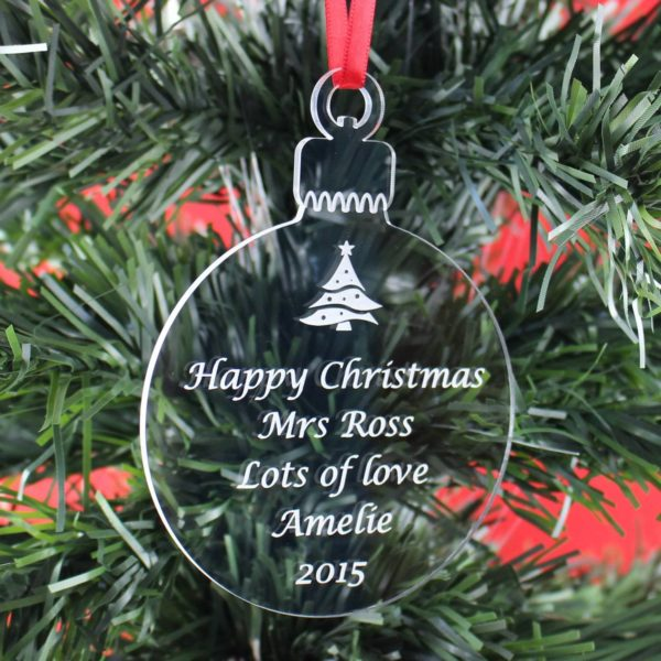 personalised teacher christmas bauble 5
