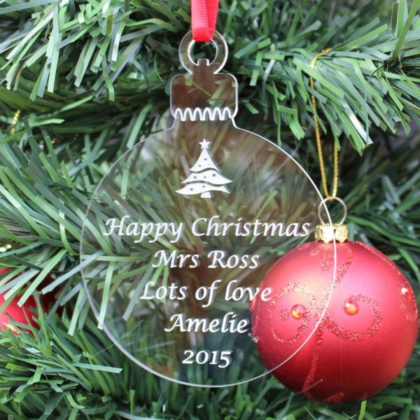 personalised teacher christmas bauble