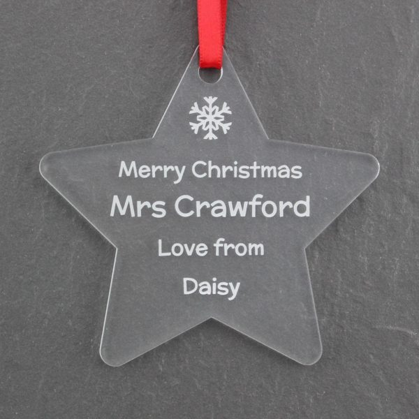 personalised teacher christmas star bauble