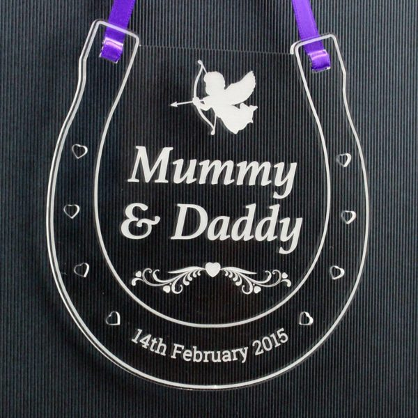 personalised wedding horseshoe mummy daddy