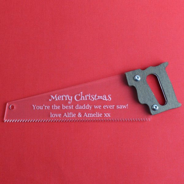 engraved saw gift acrylic wood red