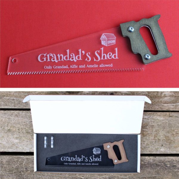 engraved saw gift box red