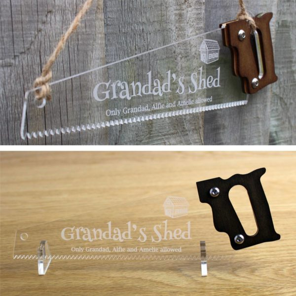 engraved saw gift stand fence