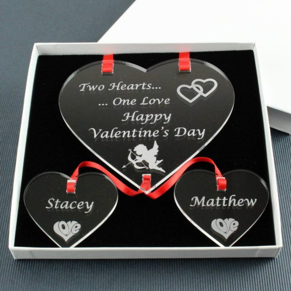personalised valentine's two hearts one love
