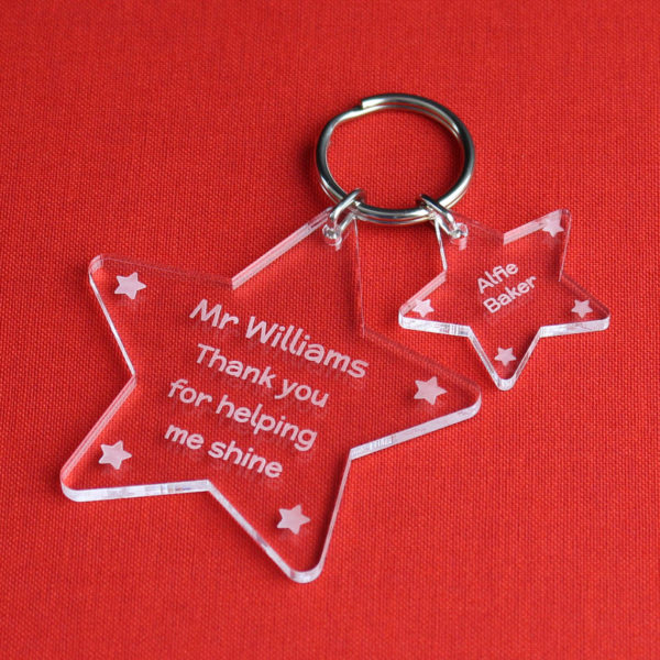 personalised star keyring teacher gift (acrylic)