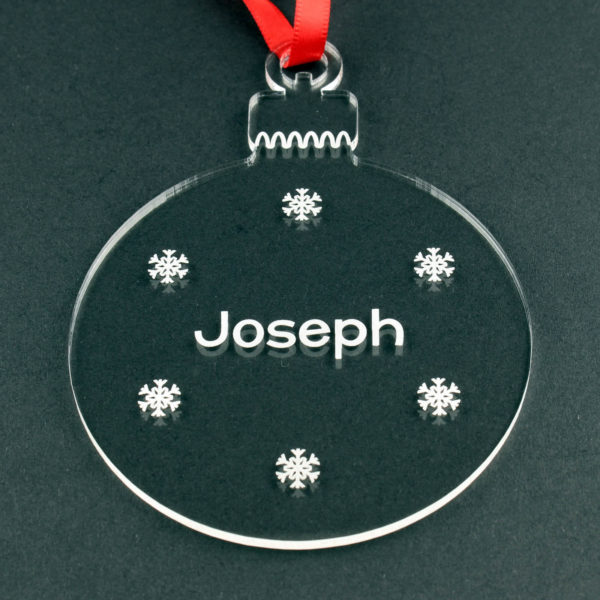 personalised child christmas round tree bauble