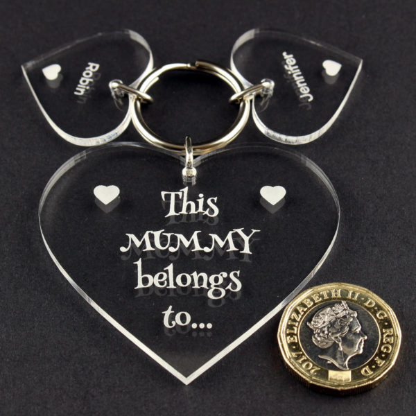personalised heart 'this mummy' key ring gift