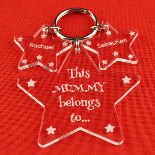 personalised star 'this mummy' key ring gift