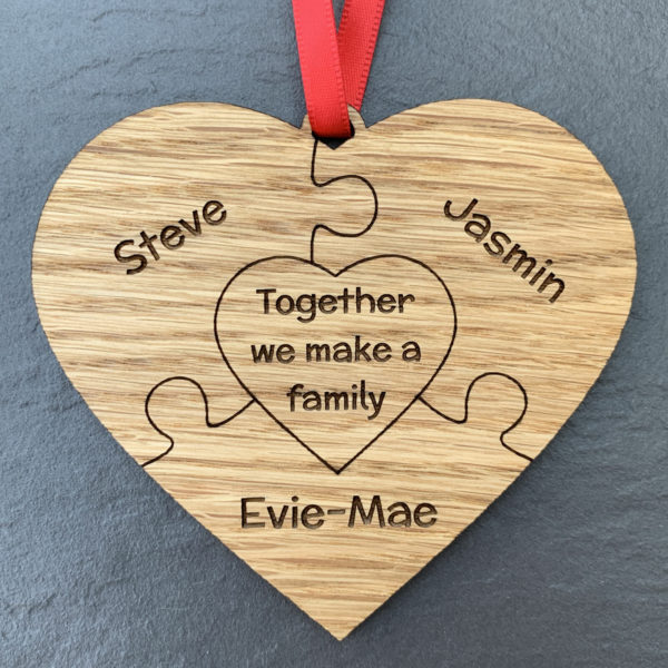 heart puzzle family 3names