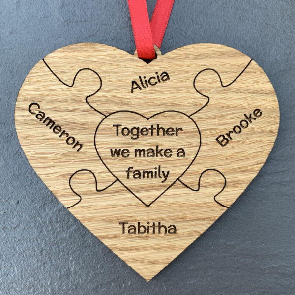 heart puzzle family 4names