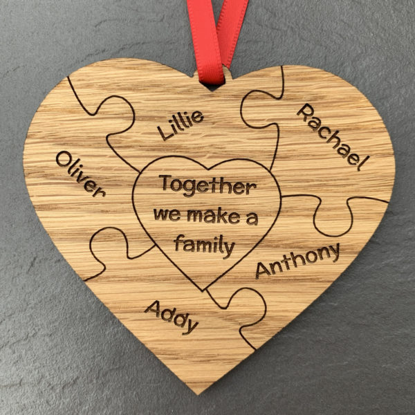 heart puzzle family 5names