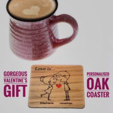 Personalised Coaster 'Love is' Couple Portrait Gift