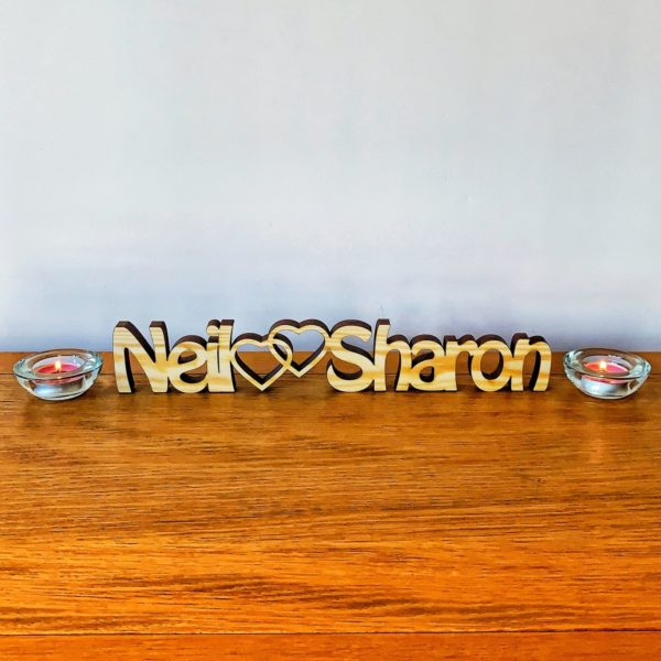 personalised wooden freestanding couples names