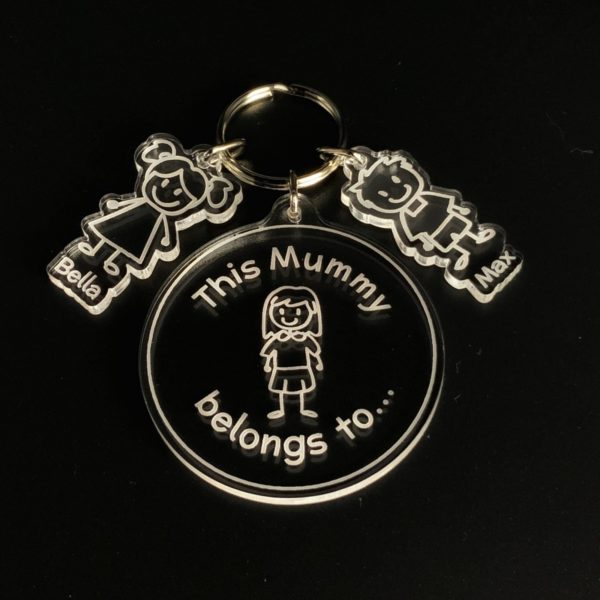 personalised 'this mummy' key ring gift - stick figures
