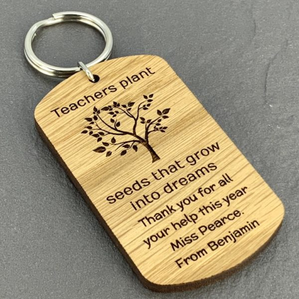 personalised oak teacher keyring