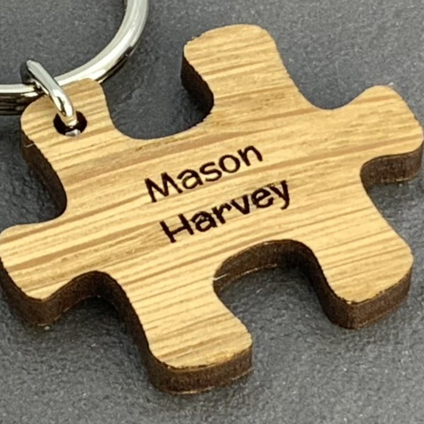 personalised teacher puzzle pieces keyring (wood)