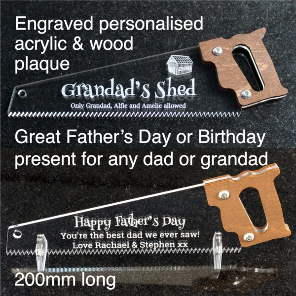 engraved personalised saw fathers day
