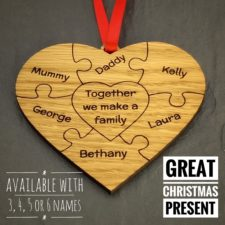 heart puzzle text oak christmas