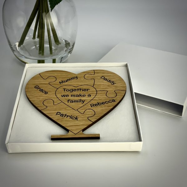a gorgeous family gift - personalised 'family puzzle' freestanding oak heart gift