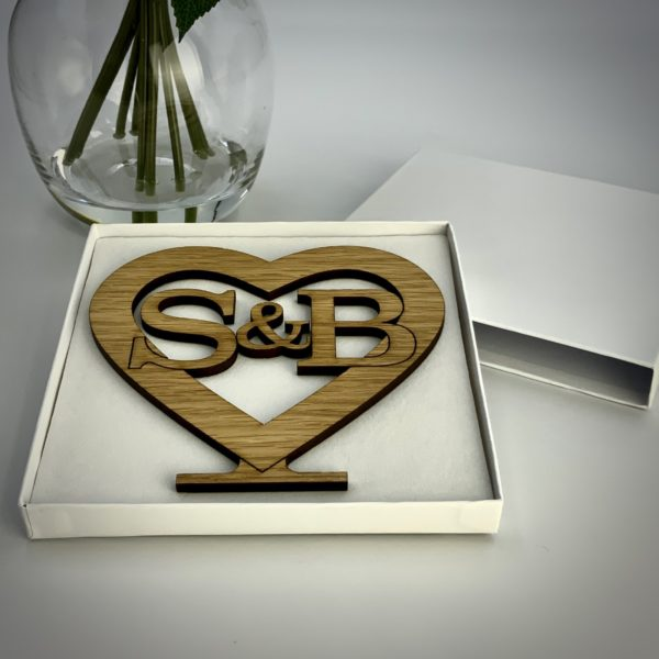 a romantic valentine's day gift - personalised 'cut initials' freestanding oak heart gift