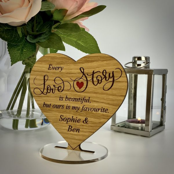 a romantic valentine's day gift - personalised 'every love story' freestanding oak heart gift