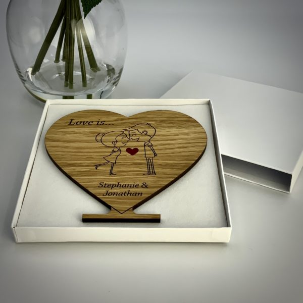a romantic valentine's day gift - personalised 'love is' freestanding oak heart gift