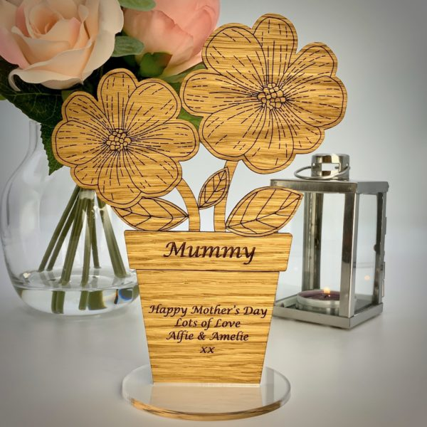 a gorgeous mother's day gift - personalised 'flowers in pot' freestanding oak heart gift