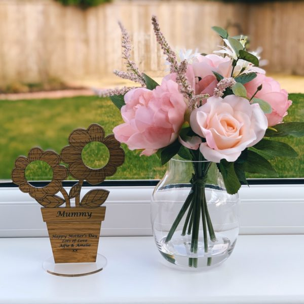 a gorgeous mother's day gift - personalised 'flowers in pot' ferrero rocher freestanding oak heart gift