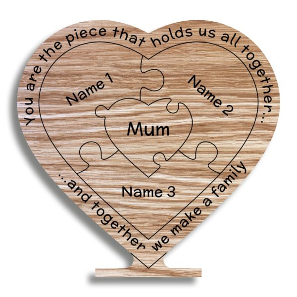 mothers day gift oak heart mum holds family together freestanding 19