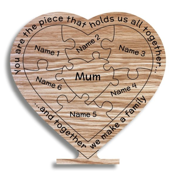 mothers day gift oak heart mum holds family together freestanding 22