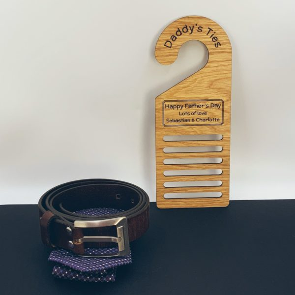 a practical father's day gift - personalised 'tie hanger' / 'belt rack' oak heart gift