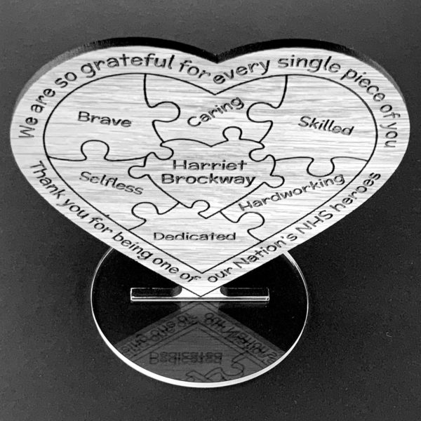 a token thank you personalised puzzle heart gift for amazing nhs heroes, nurses, doctors, key workers - coronavirus - covid 19