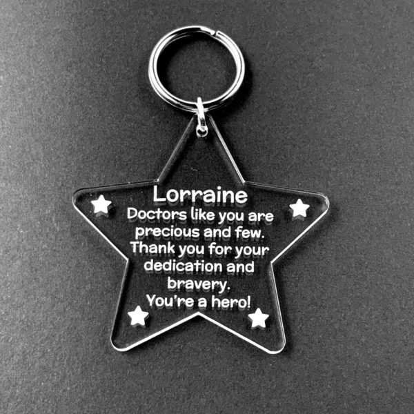 a token thank you star keyring gift for amazing nhs nurses, doctors, key workers - coronavirus - covid 19