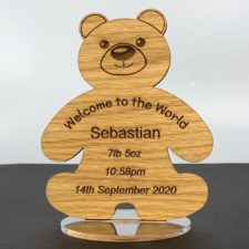 A gorgeous new baby gift - Personalised Oak Freestanding 'Teddy Bear' Gift