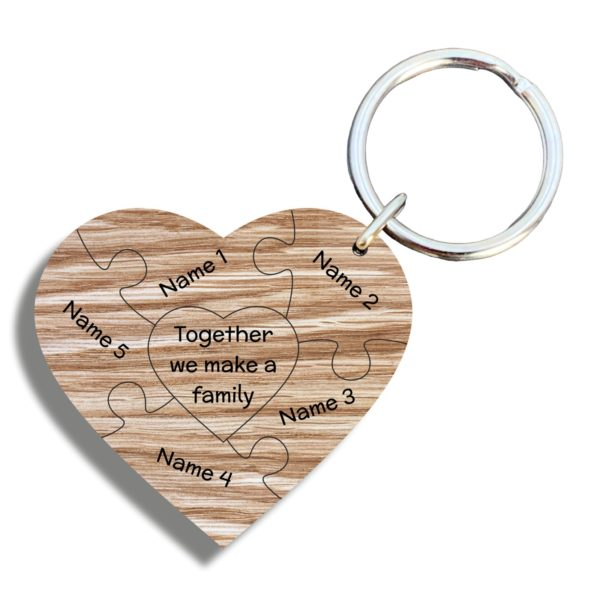 a gorgeous family gift - personalised 'family puzzle' keyring oak heart gift