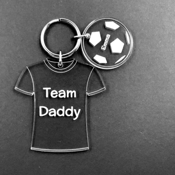 """a great father's day gift for your football & family loving dad - """"team dad"""" shirt with family team members names on balls"""